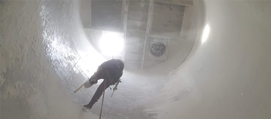 cleaning silo in progress