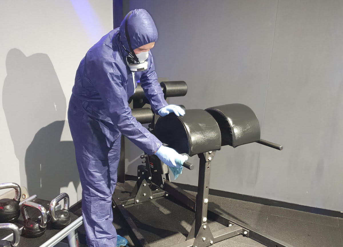 deep cleaning gym equipment